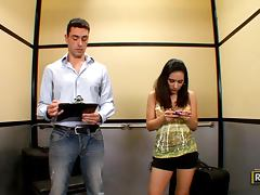 Banging Petite Brunette Tia Cyrus in Out of Order Elevator