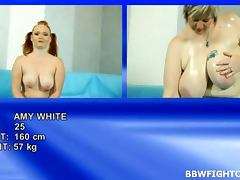 BBW Fight Club with hot naked fatties Amy and Diana
