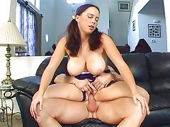 Young big tits cheerleader slut working the couch