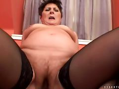 Lewd granny Margo T sucks a dick and gets fucked in cowgirl position