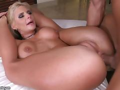 Flexible blonde Phoenix Marie blows and gets her holes stunningly drilled