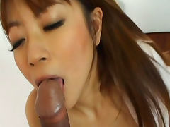 Cock sucking angel Mei Itoya being fucked in hairy pussy