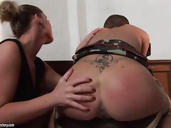 Stunning Kathia Nobili dominates Sinnead the bald chick