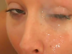 Johnny Thrust cums on face of Julie Knight