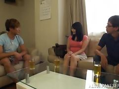 Curvy Japanese cutie gives a nice blowjob to some horny dude