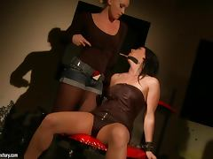 Chanel and Kathia Nobili have some lesbian fun in a basement
