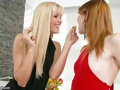 Judy Smile and Sophie Moone finger each other's pussies in the bathroom