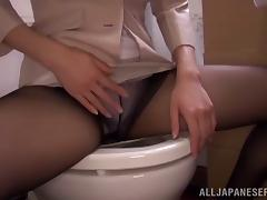 Naughty Suzu Tsubaki sucks a cock in a toilet