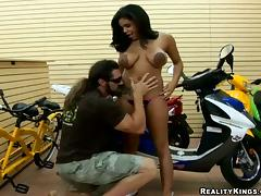 Smoking hot Savana Ginger is being fucked on the bike