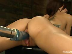 Gia Dimarco gets fucked in various positions by a sex machine