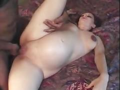 Pregnant milf gets her pussy licked and fucked deep and hard