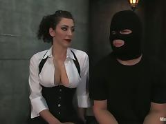 Cock and Clothespin Torture with Spanking Action in Bondage Femdom