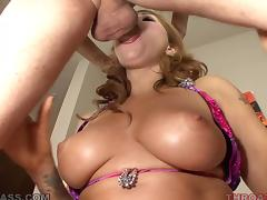 Sizzling bunny is getting a huge cock in her mouth