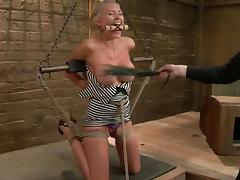 Katie Summers gets her tits whipped and her cunt fingered in BDSM scene