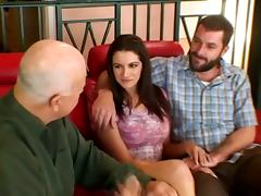 Busty Brunette With Big Natural Tits Received One Long Prick