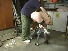 Breast bondage and some intense dildoing for Cowgirl