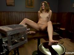 Double dildo machine and a vibrator for Allie Haze