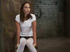 Pretty Amber Rayne gets tied up to a chair and toyed