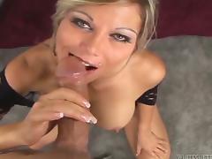 Busty blonde mom Ana Nova titfucks a cock before taking a ride on it