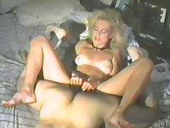 Gorgeous vintage blonde fingers her vag and gets it drilled hard
