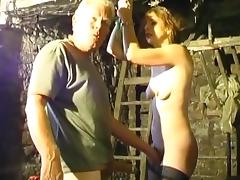 Skinny chick is getting humiliated by an old man