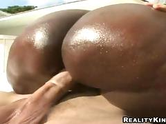Nasty and chubby ebony is in an outdoor interracial