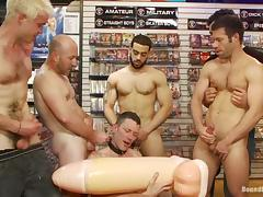 A lewd homosexual gets his ass toyed and fucked in a shop