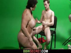 Chubby brunette at the studio gets naked and bangs a cheater