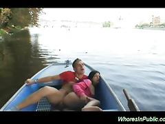 Slut is fucked in the boat