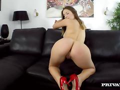 A petite chicks is getting down on a huge cock