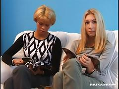Slim amateur blondes Andrea and Katalin share a weiner indoors