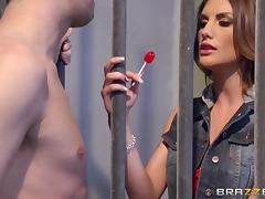 Slim cutie August Ames gets her twat properly fucked in a jail