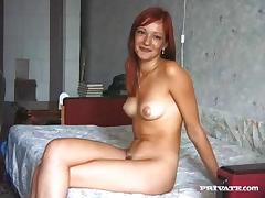 Naughty redhead with petite natural tits enjoying a hardcore threesome
