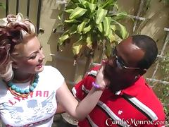 Interracial voyeur scene with salacious Candy Monroe
