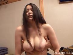 Chubby Asian cougar with big tits having her pussy fingered before being fucked hardcore